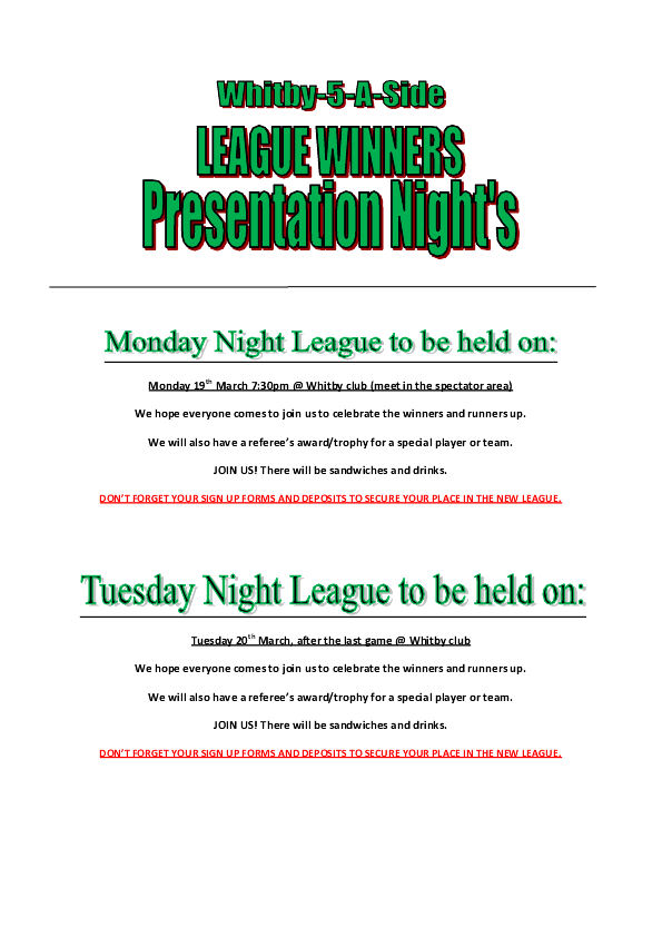 League presentation nightdoc